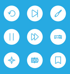 music icons line style set with bookmark jack vector image