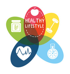 nice healthy lifestyle icons design vector image