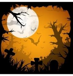 night halloween background with creepy graveyard vector image