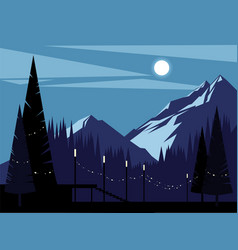 Night mountain background vector