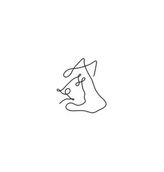 One line animal heads cat dog mouse silhouette vector