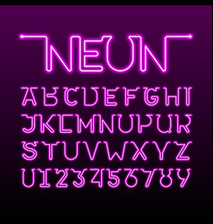 One thin single continuous line neon tube font vector