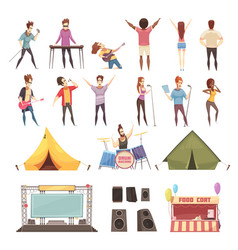 open air festival icons set vector image
