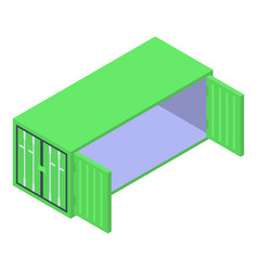 open green container icon isometric style vector image