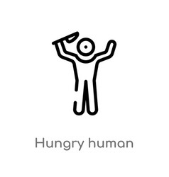 Outline hungry human icon isolated black simple vector