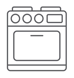oven thin line icon appliance and cooking cooker vector image