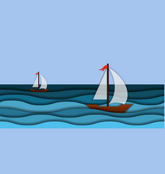 papercut 3d sea waves and sail boat modern paper vector image