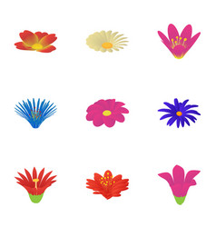 Passionflower icons set cartoon style vector