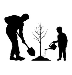 Planting tree with bafather and son plant vector