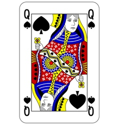 Poker playing card Queen spade vector