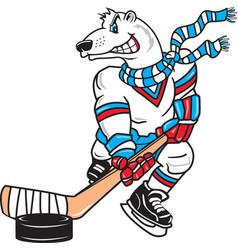 polar bear sports logo mascot hockey vector image
