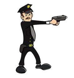 policeman shooting vector image vector image