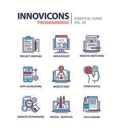 Programming - modern line design icons set vector