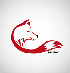 Red fox logo isolated vector