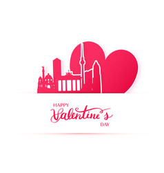 Red heart and silhouette of berlin city paper vector