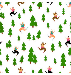 running seamless pattern with girls in forest park vector image
