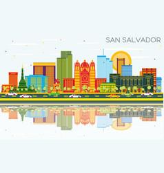 san salvador city skyline with color buildings vector image
