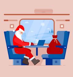 Santa claus looking in notebook computer vector