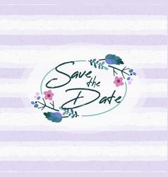 save date wedding invitation floral elements vector image