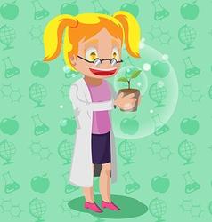 Scientist Cartoon Character Woman Plant vector