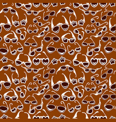 seamless pattern in retro style with sunglasses vector image
