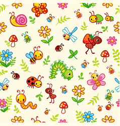 seamless pattern with insects and plants vector image