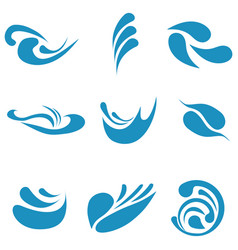 set logos water and waves isolated on a white vector image