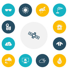 Set of 13 editable climate icons includes symbols vector