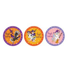 set of cute cartoon halloween unicorns circle vector image