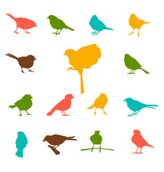 set of silhouettes of birds vector image