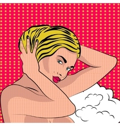 Sexy nude pop art girl vector