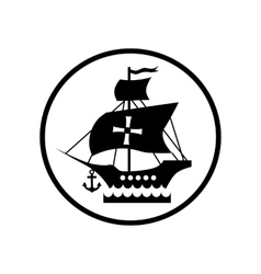 Ship with flag of Columbus icon simple style vector