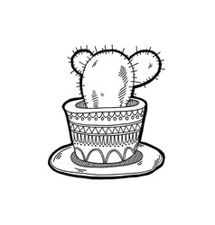 sketch drawing doodle icon cactus in a clay pot vector image