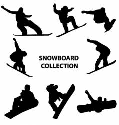snowboard silhouettes vector image