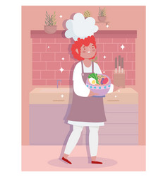 stay at home female chef with soup in bowl vector image