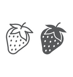strawberry line and glyph icon fruit and vitamin vector image
