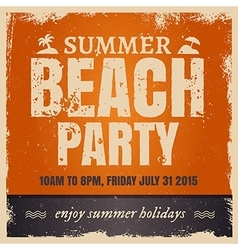 Summer beach party in retro hot style with orange vector