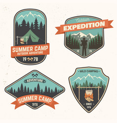 Summer camp patch concept vector