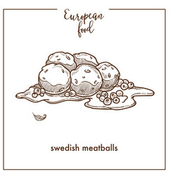 Swedish meatballs sketch icon for european food vector