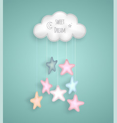 Sweet dream with cloud and stars vector