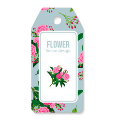 tag with peony bouquet pattern vector image