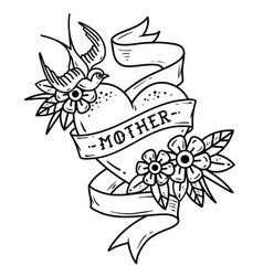 tattoo heart with swallow flowers and word mother vector image