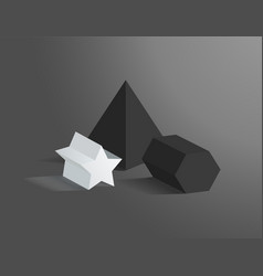 three heometric prisms set vector image