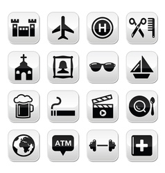Travel tourism and transport buttons set vector image vector image