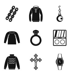 Trendy icons set simple style vector