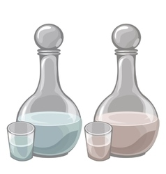 Two bottle of milk and filled cups drink vector