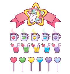 unicorn rainbow icons ui design set vector image