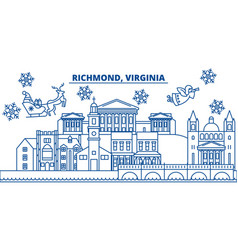 usa virginia richmond winter city skyline merry vector image