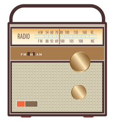 vintage radio brown vector image