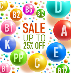 vitamin sale offer banner with colorful pill swirl vector image